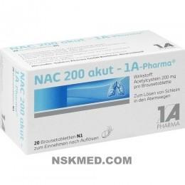 N-ацетил цистеин 200 мг 1А Фарма таблетки шипучие (NAC 200 akut 1A Pharma Brausetabletten) 20 St